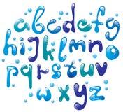 Alfabeto azul lustroso bonito ilustração stock