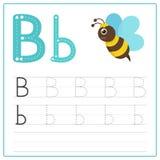 Alfabeto B do cartão da escrita ilustração royalty free