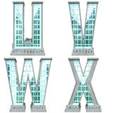 Alfabeto bajo la forma de edificios urbanos. Imágenes de archivo libres de regalías