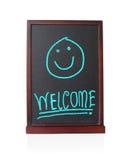 Alfabeto bem-vindo com as crianças felizes no quadro Fotografia de Stock