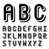 Alfabeto in bianco e nero originale della fonte tipografica 3d Fotografia Stock