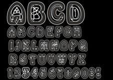 Alfabeto bizzarro nonconformista nella linea bianca Insieme originale della fonte con gli elementi di scarabocchio, i caratteri m illustrazione vettoriale