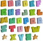 alfabeto blocky de las fuentes del color de la pintada 3D sobre blanco Imagenes de archivo