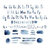 Alfabeto blu scuro dell'acquerello di vettore, disegnato a mano illustrazione di stock
