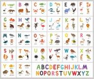 Alfabeto bonito do jardim zoológico do vetor Animais do ABC Fotografia de Stock Royalty Free