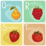 Alfabeto bonito do vegetal e do fruto Personagens de banda desenhada Fotografia de Stock