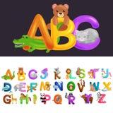 Alfabeto bonito dos animais dos desenhos animados para a educação das crianças Graphhics do vetor ilustração do vetor