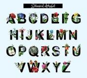 Alfabeto botánico con las flores, la amapola, la manzanilla y otra salvajes y tropicales Ilustración del vector libre illustration