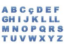 Alfabeto brilhante azul Imagens de Stock