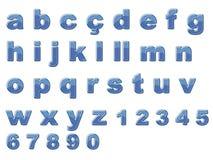 Alfabeto brilhante azul Fotografia de Stock