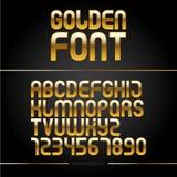 Alfabeto brillante de oro de la fuente o del oro de vector Tipografía del metal amarillo ABC de oro metálico, ejemplo de lujo tip Imagen de archivo