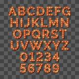 Alfabeto brillante retro de la bombilla en fondo transparente ilustración del vector