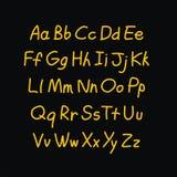 Alfabeto cómico del garabato del estilo del contorno Vector Foto de archivo