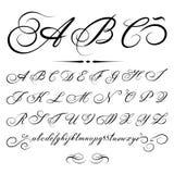 Alfabeto caligráfico del vector Fotos de archivo libres de regalías