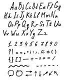 Alfabeto caligráfico Letras y números del vector Tipografía drenada mano Ejemplo de la fuente Fotos de archivo libres de regalías