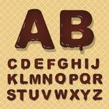 Alfabeto capital latin do vetor feito do chocolate Estilo de fonte ilustração do vetor