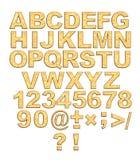 Alfabeto - cartas de oro 3d con los remaches Fotografía de archivo libre de regalías
