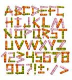 Alfabeto - cartas de una tela brillante Foto de archivo