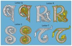 Alfabeto celtico antico Immagini Stock