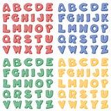Alfabeto Checkered en colores primarios Imagen de archivo libre de regalías