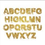 Alfabeto chispeante del brillo del oro Letras de lujo de oro decorativas ABC atractivo brillante del extracto Texto de oro del br Imagenes de archivo