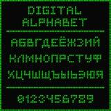 Alfabeto cirílico digital verde Fotos de Stock