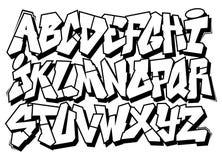 Alfabeto classico del tipo di carattere dei graffiti di arte della via illustrazione di stock