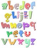 Alfabeto cómico minúsculo Imágenes de archivo libres de regalías