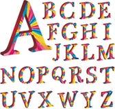 Alfabeto coloreado con las rayas Fotos de archivo libres de regalías