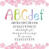 Alfabeto coloreado lindo en el fondo blanco Imagenes de archivo