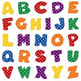 Alfabeto, colores brillantes con los lunares ilustración del vector