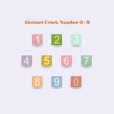 Alfabeto colorido abstracto número 0 - 9 de la grieta imágenes de archivo libres de regalías