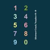 Alfabeto colorido abstracto número 0 - 9 de la grieta Fotos de archivo libres de regalías