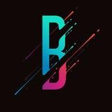Alfabeto colorido abstrato moderno A tinta líquida dinâmica espirra a letra Elemento do projeto do vetor para sua arte Letra B ilustração stock