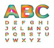 Alfabeto colorido con color iridiscente Fotografía de archivo