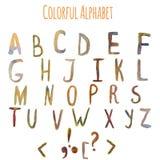 Alfabeto colorido de la fantasía de la acuarela del vector EPS10 Fotos de archivo libres de regalías