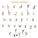 Alfabeto colorido de la fantasía de la acuarela del vector EPS10 Foto de archivo libre de regalías