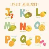 Alfabeto colorido de la fruta del vector Foto de archivo libre de regalías
