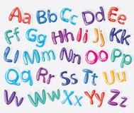 Alfabeto colorido de la historieta Foto de archivo libre de regalías