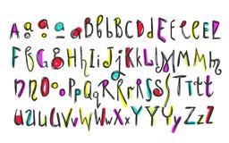 Alfabeto colorido de los niños del garabato Imagen de archivo