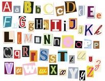 Alfabeto colorido de los periódicos Imagenes de archivo