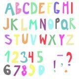 Alfabeto colorido del garabato Fotografía de archivo libre de regalías