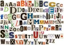 Alfabeto colorido del periódico Imagen de archivo libre de regalías