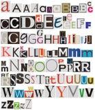 Alfabeto colorido del periódico Fotografía de archivo