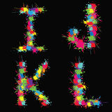 Alfabeto colorido del vector con las manchas blancas /negras IJKL Fotografía de archivo libre de regalías