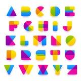 Alfabeto colorido del vector hecho de formas plásticas Imagen de archivo libre de regalías