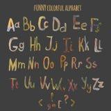 Alfabeto colorido divertido de la fantasía de la acuarela del vector Imagenes de archivo