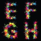 Alfabeto colorido do vetor com borrões EFGH ilustração do vetor