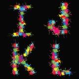 Alfabeto colorido do vetor com borrões IJKL ilustração royalty free
