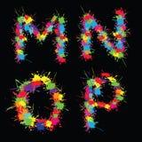 Alfabeto colorido do vetor com borrões MNOP ilustração stock